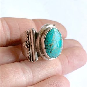 Sterling Silver Spiderweb Turquoise Band Ring